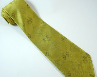 Vintage 1970s Wide Tie Gold Geometric Necktie