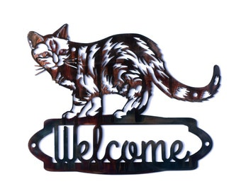Tabby Cat Welcome Sign - CAN BE CUSTOMIZED!