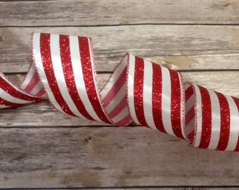 Red White Stripe Candy Cane Wire Edge Ribbon Christmas Tree Holiday Bow