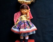 Vintage Portugal Souvenir Doll Spanish Doll,Vintage Portugese Doll, Circa 1960s, Chicken on Head Doll, Ethnic Doll,Travel Souvenir,Folk Art