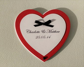 Red and White Heart Shaped Fan Design Wedding Invitation with Black Bow Tie