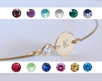 Personalized bangle - Initial birthstone bangle - Bridal personalized initial birthstone bracelet - Bridesmaid gift - Custom initial bangle