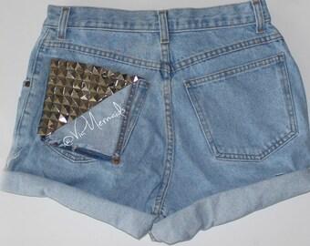 Custom Hand Studded Shorts Size 0-14