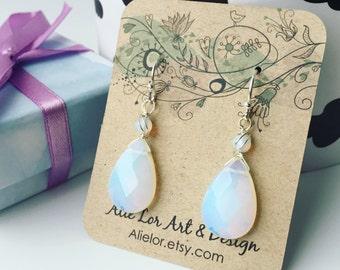 Tear drop earrings, opalite earrings, white earrings, wire wrapped earrings, christmas gift