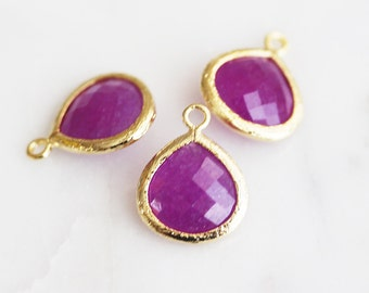 A2-002-G-MGJ] Magenta Jade / 13mm / Gold plated / Glass Pendant / 2 pieces