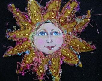 Felt Sun Brooch/Felt Sun Pin/Art doll brooch