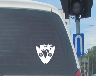 Surfboards with Hibiscus design vinyl car decal
