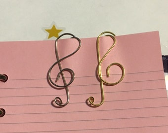 Music Treble Clef silver or gold Planner Paperclips set of 3 - EC PlumPaper Happy Planner Kate jazz