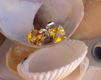 Citrine Earrings, Citrine Stud Earrings, Cushion Cut Earrings, November Birthstone, Bridesmaid, Wedding