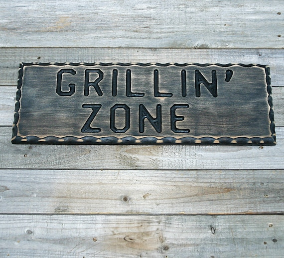 Man Cave Bbq Signs : Bbq sign grillin zone wood man cave
