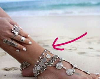 Ankle coin charming jewelry/ Bare feet /BOHO style/ Antique silver anklet/ Also a bracelet. Price is for one item.