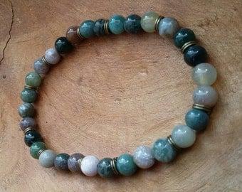 Handmade bracelet/  natural gemstones Indian Agaath / Elastic wire