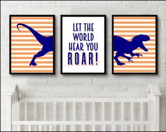 Dinosaur Print Boys room Let the world hear you roar nursery set of 3 prints Nursery Wall Art Baby Boy Room Nursery