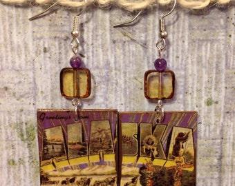 Up-cycled Alaska Earrings, decoupage postcard earrings, cereal box earrings