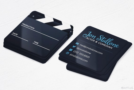 Mini Actor Business Cards Maker Square Die Cut Cards