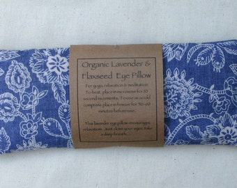 Organic Flaxseed and Lavender Eye Pillow/Meditation/Relaxation/Yoga/Savasana/Wellbeing