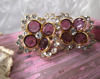 Vintage bezel set earrings, purple bezel earrings, rhinestones and bezels, sparkling bezel flower earrings, clips, Excellent! 52005
