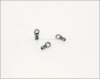 10 pcs.+  1mm Crimp End Cap, Crimp Ends, Cord Ends for Leather Cords & Chains - Antique Silver
