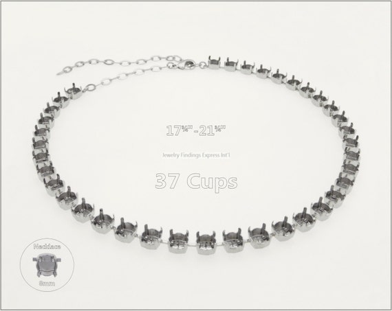 1 pc.+ 37 Cups, SS39 (8mm) Empty Cup Chain for Necklace - Rhodium Plating