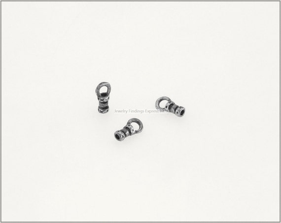 10 pc.+  1mm Crimp End Cap, Crimp Ends, Cord Ends for Leather Cords & Chains - Antique Silver