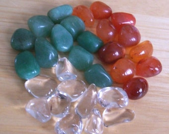 30 Tumbled Stones - Carnelian, Green Aventurine and Rock Quartz