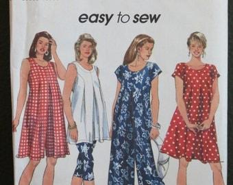 Misses Sewing Pattern / Maternity Jumpsuit, Dress, & Tunic / Simplicity 8380 / Size 12-14-16 / Uncut / Vintage