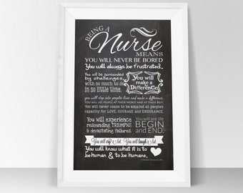 INSTANT DOWNLOAD Nurse Rules - Chalkboard Printable - Wall Art - Gift - 8.5x11 or 8x10 or 11x17 Inspirational quote