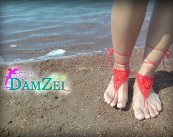 Lace Barefoot Sandal, Foot Jewelry, Wedding Barefoot Sandal, Crocheted flower Anklet, Red Barefoot Sandal, Barefoot Anklet,