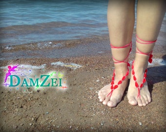 Barefoot Anklet, Foot Jewelry, Red Barefoot Sandal, Barefoot Sandal, Lace Barefoot Sandal,