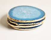 Agate Coasters, 18k Gold Edge, Blue, Large Brazilian, Set of 4