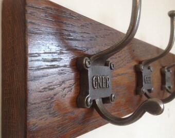 Luxury Solid Oak Wood DARK OAK STAIN Version Wooden Coat Rail Cast Iron Hooks Wedding Gift Present Made to Order