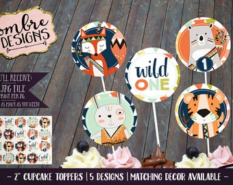 Wild One Cupcake Toppers, Wild One, First Birthday, Party, Decor, Tribal Party, Woodland Animals