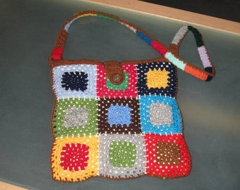 Colorful patchwork crochet bag