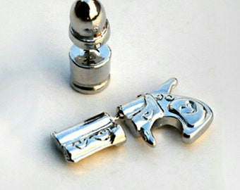 Silver Pistol & Bullet Earrings