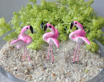 3 pcs Mini Pink Flamingo Figurines on Stem, Spreading Wings, Terrarium, Fairy Garden, Art Project, Clay Figurines