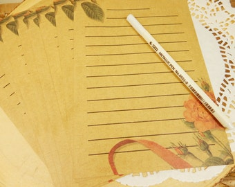 Vintage Style Writing Paper, Stationery Paper, Lined Paper, Vintage Rose, Gift for Her
