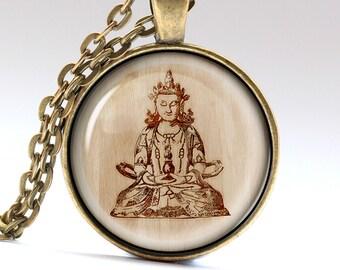 Budha Necklace, Gautama Buddha Charm, Guru Jewelry, Wooden Pendant   JewelryLG990