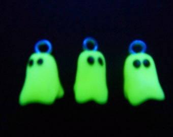 Set of 3: Handmade Glow-in-the-Dark Ghost Charms, Beads Made of Polymer Clay.  Great for Halloween!