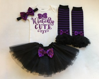 Girls witch halloween outfit, girls witch bodysuit, witch onesie,  baby girl halloween outfit, witch costume, wickedly cute, girls costume
