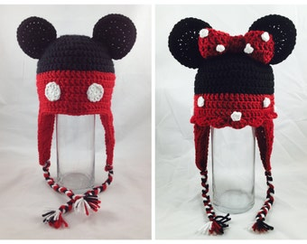 Mickey/Minnie Mouse- crochet infant/toddler/youth/adult