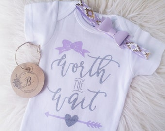 Worth The Wait onesie set,Take home outfit,Newborn outfit,Girl shower gift,Infant onesie,Bow headband,Girl onesie set,Newborn baby girl set