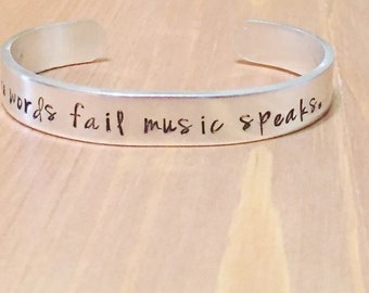 Where Words Fail Music Speaks Adjustable Cuff Bracelet