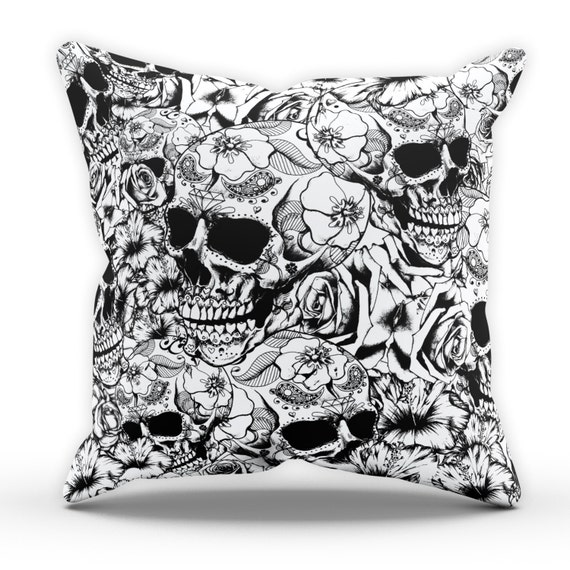 Rose Skull Cushion Home Bedroom Modern Emo Gothic Candy Tattoo