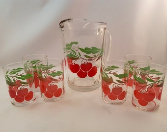 Vintage Cherry Pitcher Set with 6 Glasses
