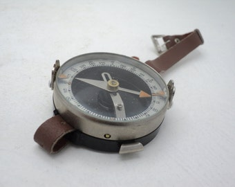 Vintage Russian Soviet Wrist Military Tourist Metal Compass - Made in USSR