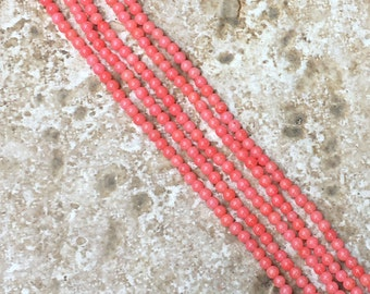 "Bamboo Coral Beads - FULL 16"" strand of 2.5mm Teeny Tiny round Smooth Bamboo Coral Beads, Salmon coral pink (about 150 beads) - G722"