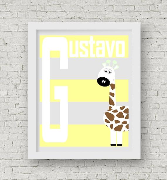 Giraffes nursery print, name Nursery print, grey and yellow nursery ...