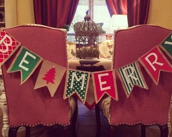 Christmas Bunting/Be Merry Bunting/Christmas Mantel Decor