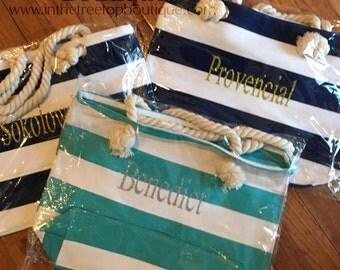 Canvas striped beach bag Tote