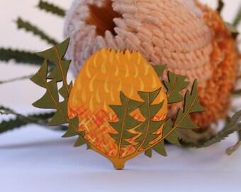 Flower Hair Clip-Flower Hairclip-Handpainted Flower Clip-Wood Hair Clip-Flower Barrette-Australian Wildflower-Banksia